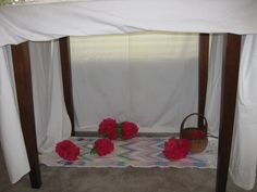 Homemade tent and flowers