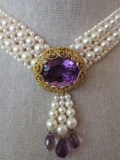 Pearl Woven Necklace with Amethyst Centerpiece | From a unique collection of vintage more necklaces at https://www.1stdibs.com/jewelry/necklaces/more-necklaces/
