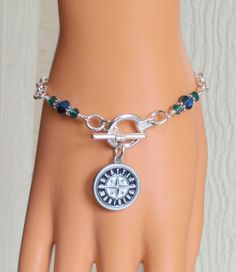 Seattle Mariners Inspired Navy and Green Crystal by scbeachbling, $24.00