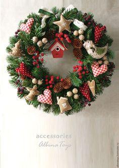 Купить Новогодний интерьерный венок Пряничный2. диам 45 см - венок, интерьерное украшение