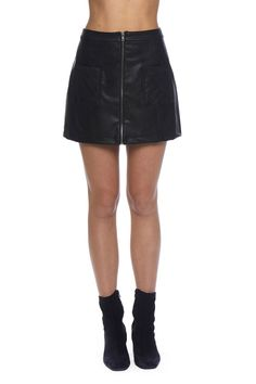 Cohen Faux Leather Quilted Skirt