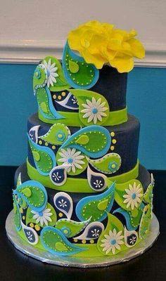 Paisley fondant cake