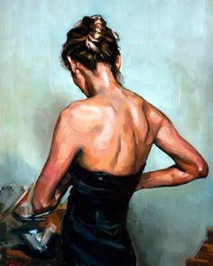 """Hedda Gabler"" - © Edward B. Gordon, 2012, oil on canvas {figurative art female brunette standing woman posterior back painting} Dressing !!"