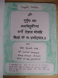 Waldorf ~ 5th grade ~ Ancient India ~ Sanskrit ~ Gayatri Mantra ~ main lesson book