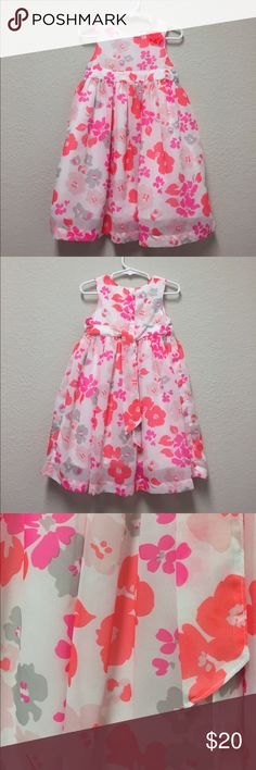 Beautiful floral print dress Beautiful floral print dress in coral hot pink light pink and gray...worn once for Easter church Carter's Dresses