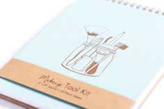 Makeup Tool Kit Notebook by Hartford Prints! Letterpress printed and spiral bound. 50 blank pages.