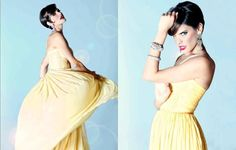 Lloyd Klein editorial featuring micro-pleated chiffon evening gown in buttery yellow