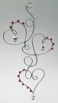 Crystal and Wire Hearts Hanging Decoration by DesignByMeg on Etsy, $19.00