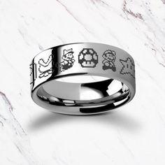 Cute Jewelry, Unique Jewelry, Pixel Design, Diana, Mario Bros., Tungsten Carbide Rings, Super Mario Bros, Engraved Rings, Yoshi