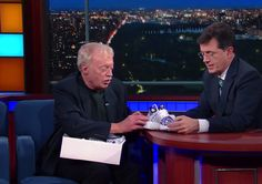 Nike founder Phil Knight presented Stephen Colbert with his own custom sneakers