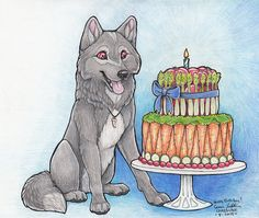 J-wolf Veggie cake Birthday by Carrie Lindstrom #Crazdude