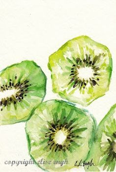 The artists here has used watercolours to paint the inside of kiwi fruits. It's a more simple piece, and doesn't look hyper-realistic, yet still shows skill and looks effective. They've decided to show a sort of pattern rather than drawing the kiwis straight from observation, and they've left areas of the green white to show where the light is hitting it.