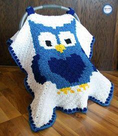 Little Owl Car Seat Canopy By Megan Meyer - Free Crochet Pattern - (ravelry) Crochet Car, C2c Crochet, Baby Blanket Crochet, Crochet Crafts, Crochet Hooks, Crochet Projects, Free Crochet, Crochet Patterns, Blanket Patterns