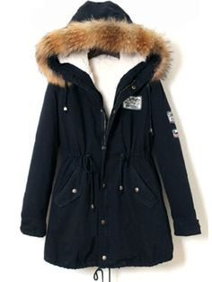 Cheap winter coat women, Buy Quality warm coat directly from China winter coat Suppliers: ROMWE Faux Fur Trim Hooded Parka Winter Coat Women Navy Zip Up Long Sleeve Jackets 2017 New Casual Patch Drawstring Warm Coat Blue Fur Coat, Navy Coat, Blue Coats, Long Hooded Coat, Long Parka Coats, Hooded Parka, Hooded Coats, Trench Coats, Sweatpants Outfit