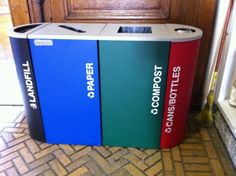 Composting and recycling bins at Manhattan Country School