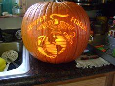 usmc pumpkin   Marine Corps Pumpkin Stencil