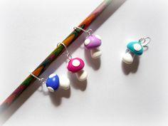 Mushroom stitch markers set of 4 UK seller by AbsoKnittingLutely, £8.00