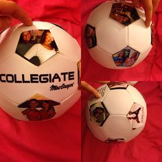 I made this for my bestfriend , it's a throwback ball. She plays soccer, so I printed out a bunch of old photos and glued them on to all of the black spots on the soccer ball. It was a great idea and not expensive at all. (: