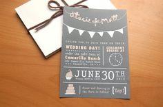 Wedding Invitation featuring DIY Style Chalkboard Pennant Flag Theme. $2,50, via Etsy.