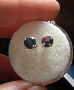 Genuine Australian Black Opal MiniStud Silver Earrings by drlmm, $34.00