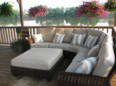 Hampton Bay Mill Valley Patio Sectional Set with Parchment Cushions at The Home Depot - Mobile Patio Diy, Backyard Patio Designs, Ikea Patio, Home Depot, Peace Lily, Patio Furniture Covers, Outdoor Furniture, Furniture Design, Furniture Ideas