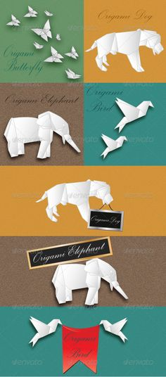 Realistic Graphic DOWNLOAD (.ai, .psd) :: http://jquery-css.de/pinterest-itmid-1003742137i.html ... Paper Animals Origami ...  animal, bird, blue, brown, butterfly, dog, elephant, green, origami, page, paper, text box, yellow  ... Realistic Photo Graphic Print Obejct Business Web Elements Illustration Design Templates ... DOWNLOAD :: http://jquery-css.de/pinterest-itmid-1003742137i.html