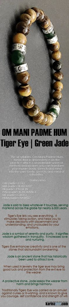 #BEADED #Yoga #BRACELETS  ♛ #Jade is an ancient stone that has historically been used to attract love.  Jade is said to bless whatever it touches, serving mankind across the globe for nearly 6,000 years. #Om #mantra #Tigers #Eye #Dalia #Lama      #Eckhart http://kundaliniyogameditation.com/