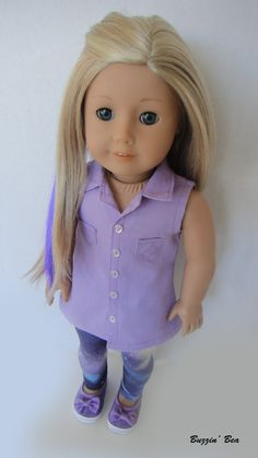 Lavender Sleeveless Button Up Tunic and Galaxy Leggings - American Girl Doll Clothes on Etsy, $23.00