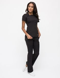 Break away from the rigid lines of symmetry with this asymmetric neck top. Scrubs Outfit, Scrubs Uniform, Lab Coats For Men, Cute Scrubs, Black Scrubs, Nurse Costume, Scrub Life, Medical Assistant, Nursing Clothes