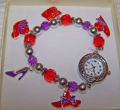 CHARM STRETCH WATCH RED PURPLE & SILVER BEADS IN BOX SILVERTONE W/ RED HATS