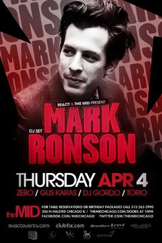 April 4 - MARK RONSON - ZEBO - MID THURSDAYS