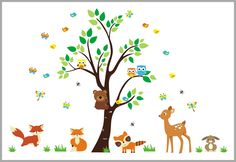 Foxy Woodland Creature Wall Decals - Baby Room Wall Stickers - Forest Themed Baby Decor