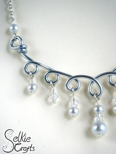 Silver, pearl and crystal bridal necklace. Handmade wire necklace, handmade wire loops jewellery, jewelry. Gift for her, unique, wedding jewellery, jewelry, bridesmaid.