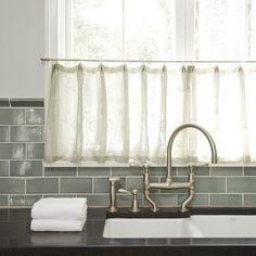 backsplash tile and kitchen window curtain/treatment