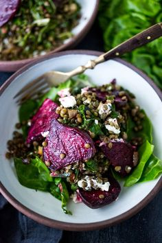 Warm Lentils with wilted chard, roasted beets, goat cheese and spring herbs. A simple tasty vegetarian meal! | www.feastingathome.com