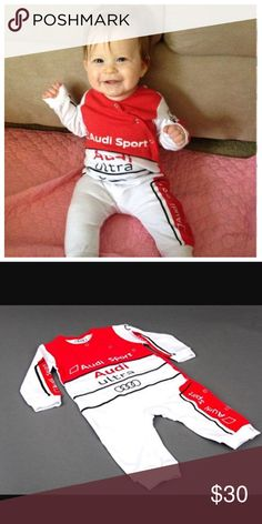 Gently worn toddler Audi racing outfit This toddler racing outfit is too cute for words! It's a solid one piece with snaps all along for closure. It has the official Audi logo and badging all over just like a real racer. This item is extremely rare and has been discontinued in the Audi catalog so please take that into consideration when making your offer. One Pieces Bodysuits