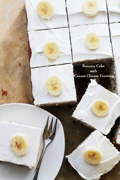 Banana Cake with Cream Cheese Frosting - Decadent, easy to make Banana Cake topped with a smooth Cream Cheese Frosting. No nuts for me please