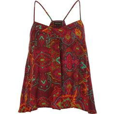 River Island Purple boho print swing cami top (715 RUB) ❤ liked on Polyvore featuring tops, shirts, blusas, tank tops, cami tank tops, racerback tank, purple tank top, print shirts and red tank