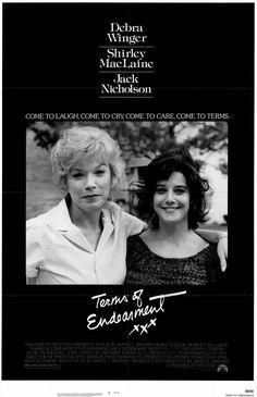 Terms of Endearment [R] 132 mins. Starring: Shirley MacLaine, Debra Winger, Jack Nicholson, Jeff Daniels, Danny DeVito and John Lithgow Hindi Movies, Famous Movies, Good Movies, 80s Movies, Oscar Movies, Girly Movies, Popular Movies, Danny Devito, Jack Nicholson