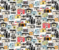 Make it Snappy! fabric by pennycandy on Spoonflower - custom fabric (retro cameras)