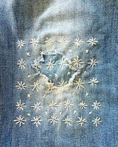 dżins Inspiration: Sashiko & visible mending — Nora Knox A Short History of Herbs The world of today Sashiko Embroidery, Japanese Embroidery, Embroidery Stitches, Hand Embroidery, Embroidery Designs, Embroidery Books, Simple Embroidery, Flower Embroidery, Embroidered Flowers