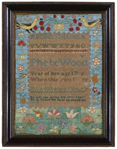 Phebe Wood, Danvers, Massachusette, 1796. Worked in brilliantly colored silk stitches on a linen ground, with all-over stitching in the borders centering bands of alphabets and a verse. sold for $53,125