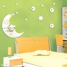 lua frete grátis e estrelas espelho sala adesivo de parede decoração da parede do decalque 1 mm de espessura PS espelho plástico decoração de casa das crianças $11.40