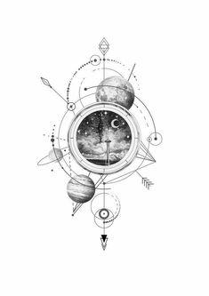 ✔ Tattoo For Guys Geometric Geometry Neue Tattoos, Body Art Tattoos, Small Tattoos, Tattoos For Guys, Sleeve Tattoos, Cool Tattoos, Outer Space Tattoos, Tribal Tattoos, Mädchen Tattoo