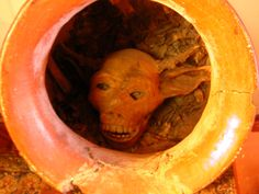 In the summer of 1851 during an archeological exploration of a deep cave on the island of Crete Dr. Pharght of our institute un-earthed a clay vessel and upon breaking the seal realized it contained the remains of what had been considered a mythological beast, a small minotaur, half bull, half man! The mummified head remained intact but only fragments of cloth and bone remained of the rest of the thing.