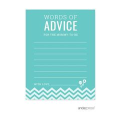 Advice Cards Diamond Blue Chevron Baby Shower Games, 20-Pack #whitediamonds