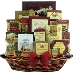 Send upscale wishes for any occasion with this beautiful and elegant gourmet gift basket It offers a wide assortment of premium gift foods including lindt, Ghirardelli and harry and David chocolates, as well as an abundance of cheeses, crackers, nuts, wine biscuits, coffees, tea and so much more Designed in this rectangular dark stained willow basket with burgundy rope trim, it's sure to make a lasting impression Great Arrivals Gourmet Gift Basket, The Finer Things