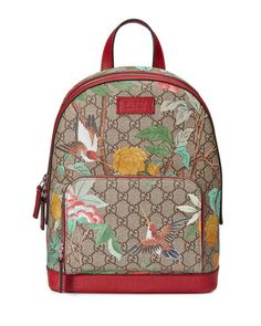 L0N87 Gucci GG Supreme Tian Canvas Backpack, Beige/Red