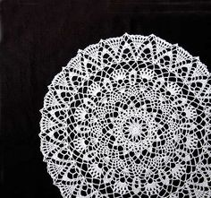 Cathedral Window Crochet Lace Doily Table Topper by NutmegCottage