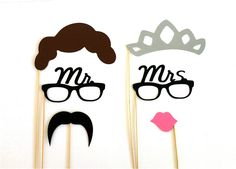 Photo Booth Props His and Hers Set of 6 Mrs and Mrs Glasses Glitter Tiara Mustache Kiss Lips Wedding Photo Booth Props Party Decorations. $19.95, via Etsy.